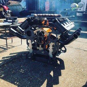 V8 BBQ firepit